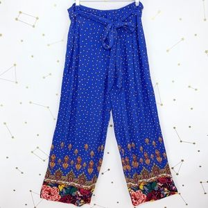 Anthro • Blue Floral Print Wide Leg Trousers Pants